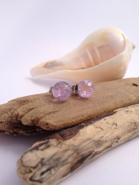 Delicate lavender faceted ecoresin earrings with by PipandtheSea