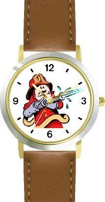Fireman in Red Suit with Fire Hose Cartoon2 - WATCHBUDDY® DELUXE TWO-TONE THEME WATCH - Arabic Numbers - Brown Leather Strap-Size-Children's Size-Small ( Boy's Size & Girl's Size ) WatchBuddy. $49.95. Save 38% Off!