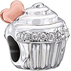 Love is Sweet - Crystal Swarovski & Rose Gold Wash - Decadent, delectable and simply darling! The Love is Sweet cupcake bead is lined with dazzling Crystal Swarovski and topped with a heart in ...