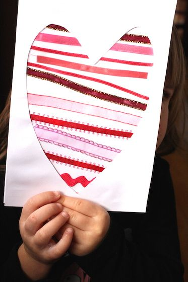 simple Valentine craft for kids - ribbon or washi tape Valentine