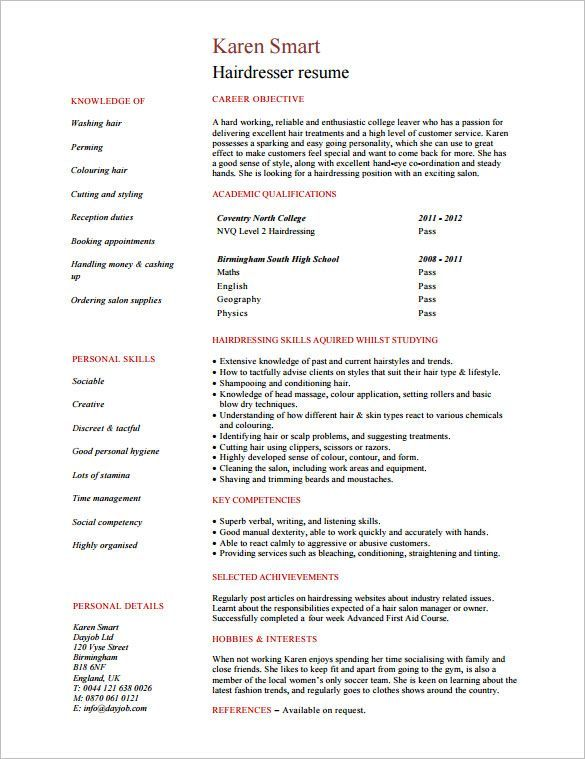 Hair Stylist Resume Template 8 Free Samples Examples Format Download Free Premium Hairstylist Resume Resume Writing Services Student Resume Template