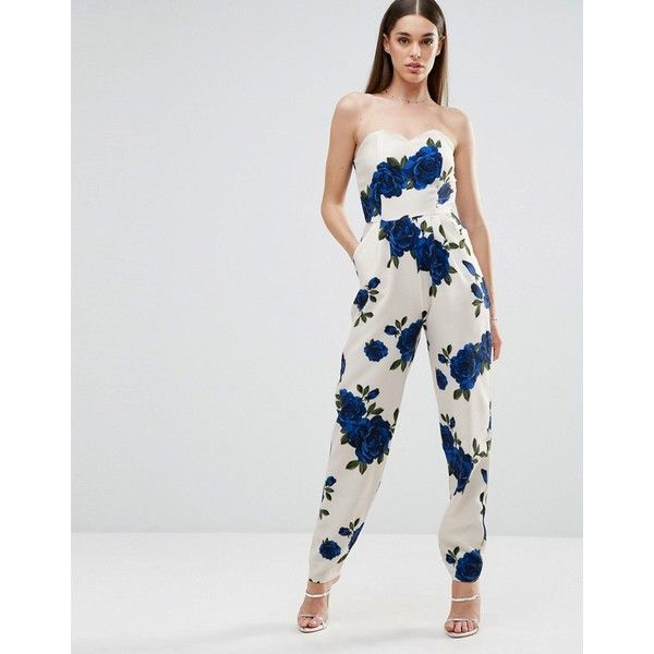 Love Bandeau Jumpsuit In Floral Print (2,385 DOP) ❤ liked on Polyvore featuring jumpsuits, white, sweetheart neckline jumpsuit, jump suit, floral jumpsuit, floral print jumpsuit and bandeau jumpsuit