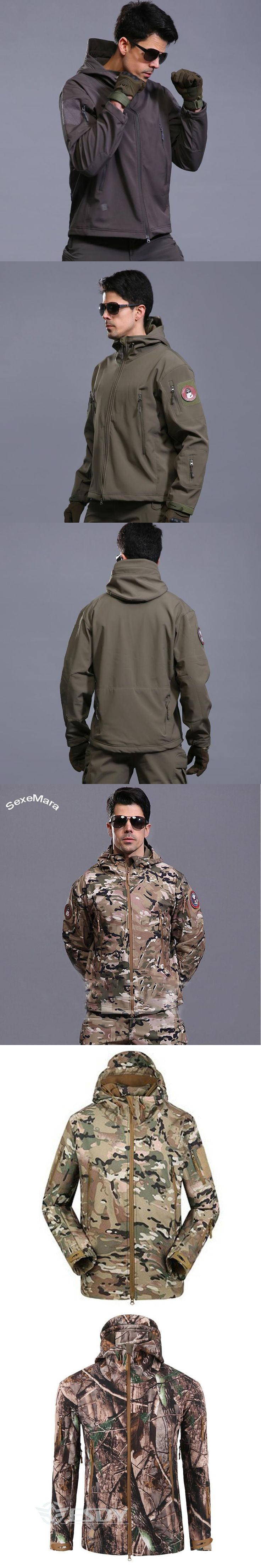 SexeMara Winter Army Softshell Militar Tactical Jacket Men Casual Hooded Mens Outdoors Jackets Chaqueta Hombre Waterproof Coats