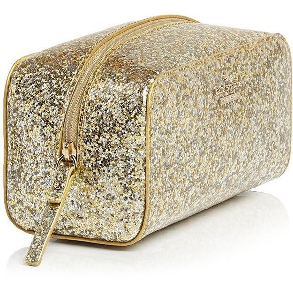 kate spade new york Glitter Bug Ezra Cosmetic Case found on Polyvore featuring beauty products, beauty accessories, bags  cases, beauty, glitter, glitter cosmetic bag, travel toiletry kit, travel bag, toiletry kits and kate spade makeup bag