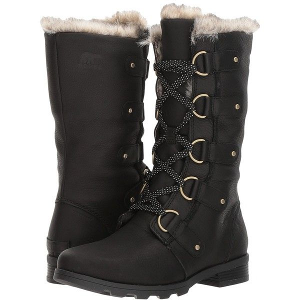 e167950fd27 SOREL Emelie Lace Premium (Black) Women's Waterproof Boots ($220 ...