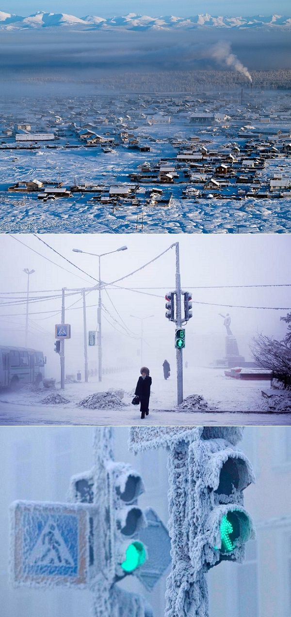 """""""The coldest town in the world"""" - with temperatures of - 90°F (- 67.7°C)? There is a village in Siberia called Oymyakon that was named the coldest town in the world with the average daily temperature of -50°C (-58°F) - from exPress-o blog"""