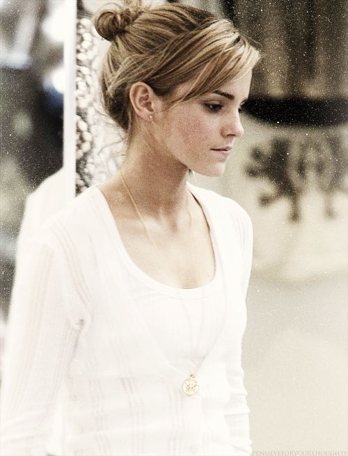 My hair NEVER looks like that when I try to do a messy bun (Emma Watson)