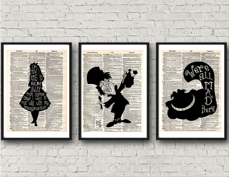 Alice in Wonderland, Alice in Wonderland Prints, Dictionary Wall Art, Mad Hatter, Cheshire Cat, Wall Prints, Instand Download Wonderland Art by KleezPrints on Etsy