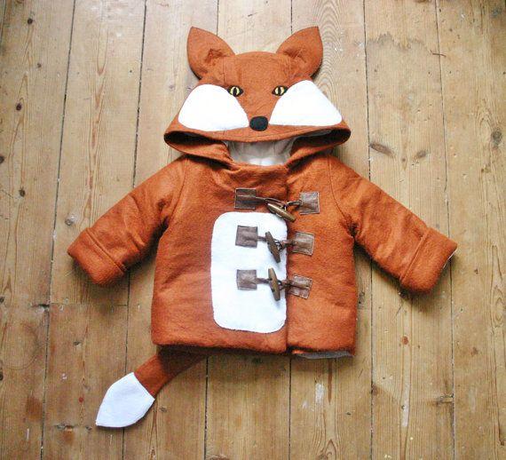 Childrens and Babies Fox Winter Felt Duffle Coat, Handmade to measure. on Etsy, $71.50