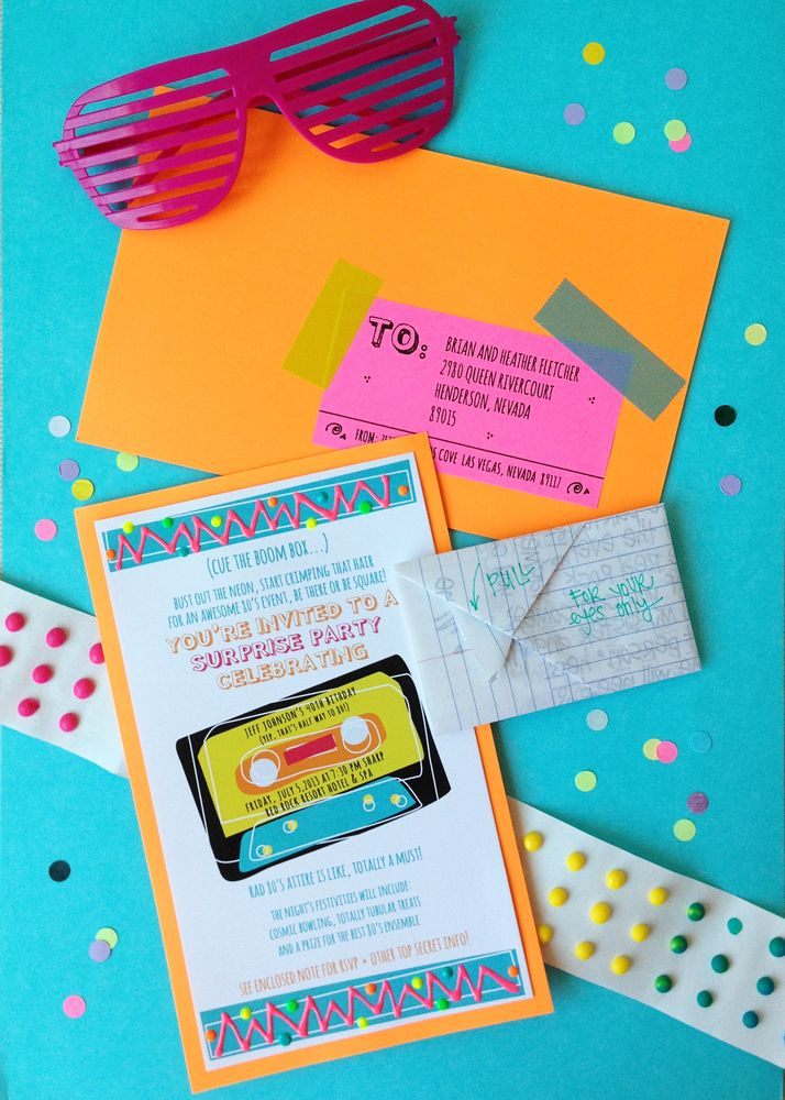TOTALLY AWESOME 80'S PARTY INVITATION