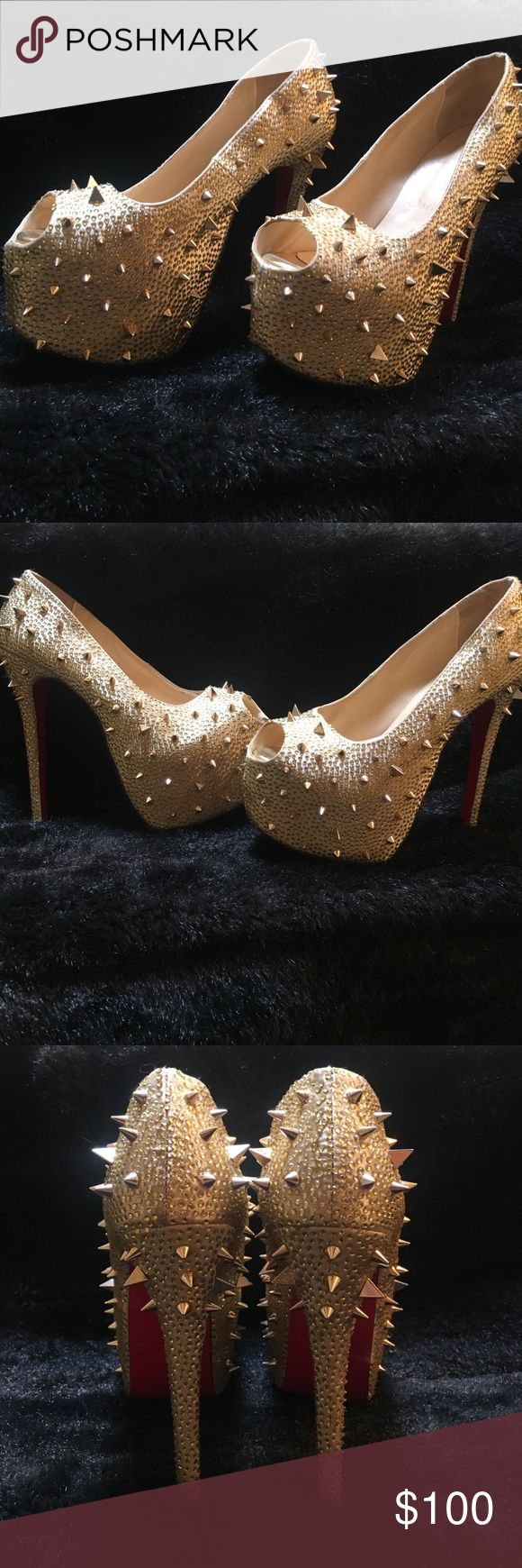 Gold Spiked Peep Toe Pumps •super cute gold spiked heels Shoes Heels
