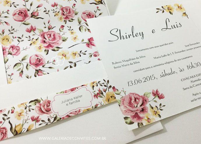 Convite casamento vintage. Convite casamento vintage com forro estampado. Estampa floral. Acompanha faixa com estampa floral vintage.