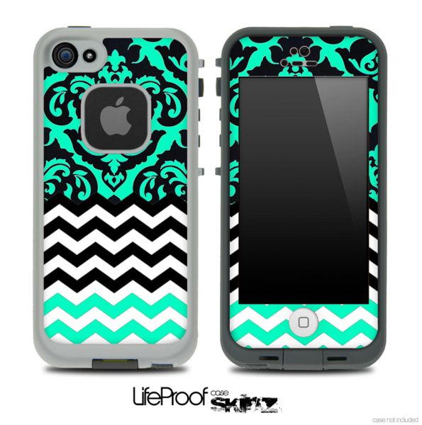 Mirrored Trendy Green V2 Chevron Pattern Skin for the iPhone 5/5s, 4/4s or 5c frē LifeProof Case