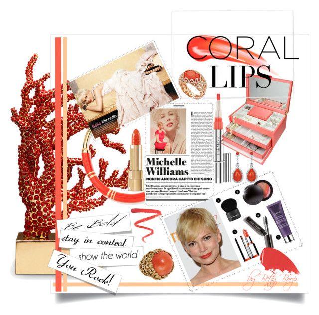 Makeup Bag: Coral Lip by betiboop8 on Polyvore featuring beauty, Benefit, Dolce&Gabbana, Trish McEvoy, Hourglass Cosmetics, Ellis Faas, Chantecler, Aurélie Bidermann, Mahnaz Ispahani and L'Objet