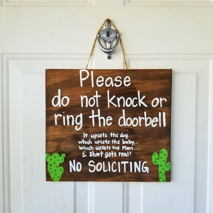 No Soliciting Door Sign, Cactus Decor, New Mom Gift