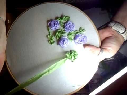 ▶ How To Make Ribbon Rose-Ribbon Technique - YouTube