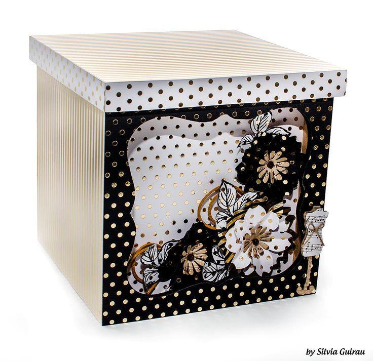 caixa decorada com papéis metalizados foil