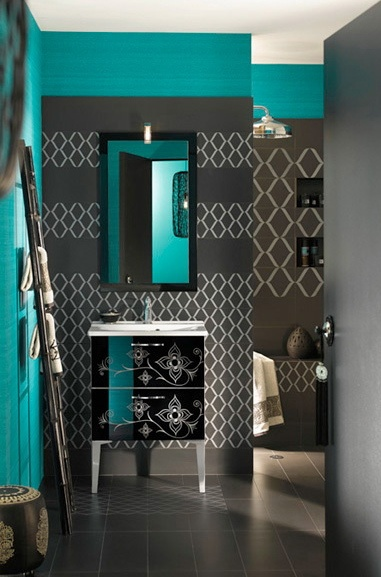 Charcoal and teal decorating pinterest beautiful for Teal and black bathroom accessories