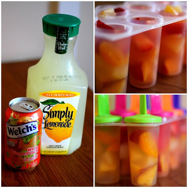 Fruit popsicles: Lemonade, peach soda, and fresh fruits make a delicious popsicle for a hot summer day.