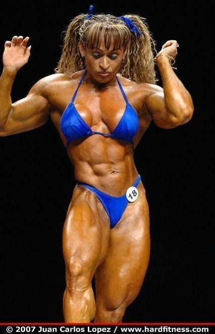 image Female bodybuilder in chains in the dungeon