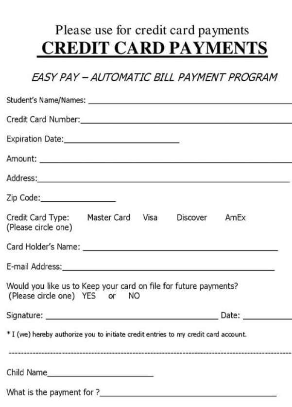 Credit Card Form Template 34561 Receipt Template Credit Card Payment Credit Card