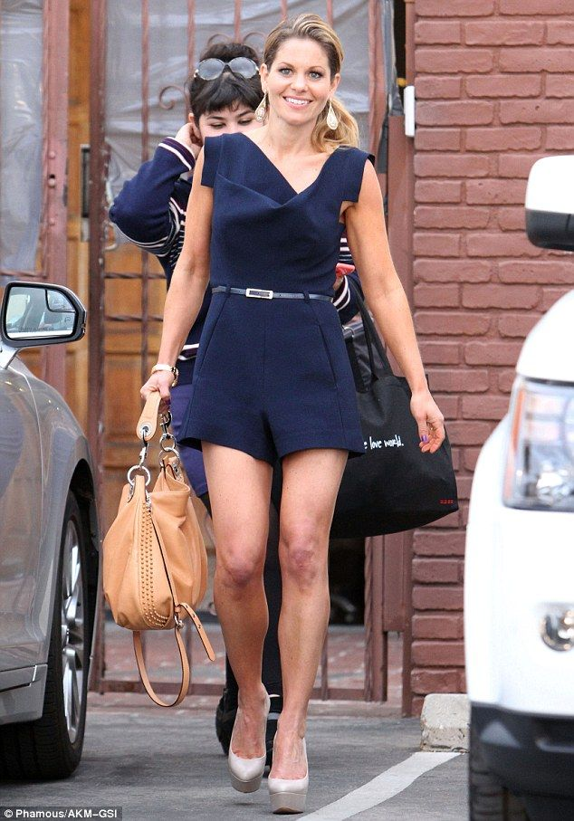 You couldn't miss her! Former Full House star Candace Cameron showed off her toned pins in a short navy playsuit as she headed in to the studio for Dancing With The Stars rehearsal on Tuesday