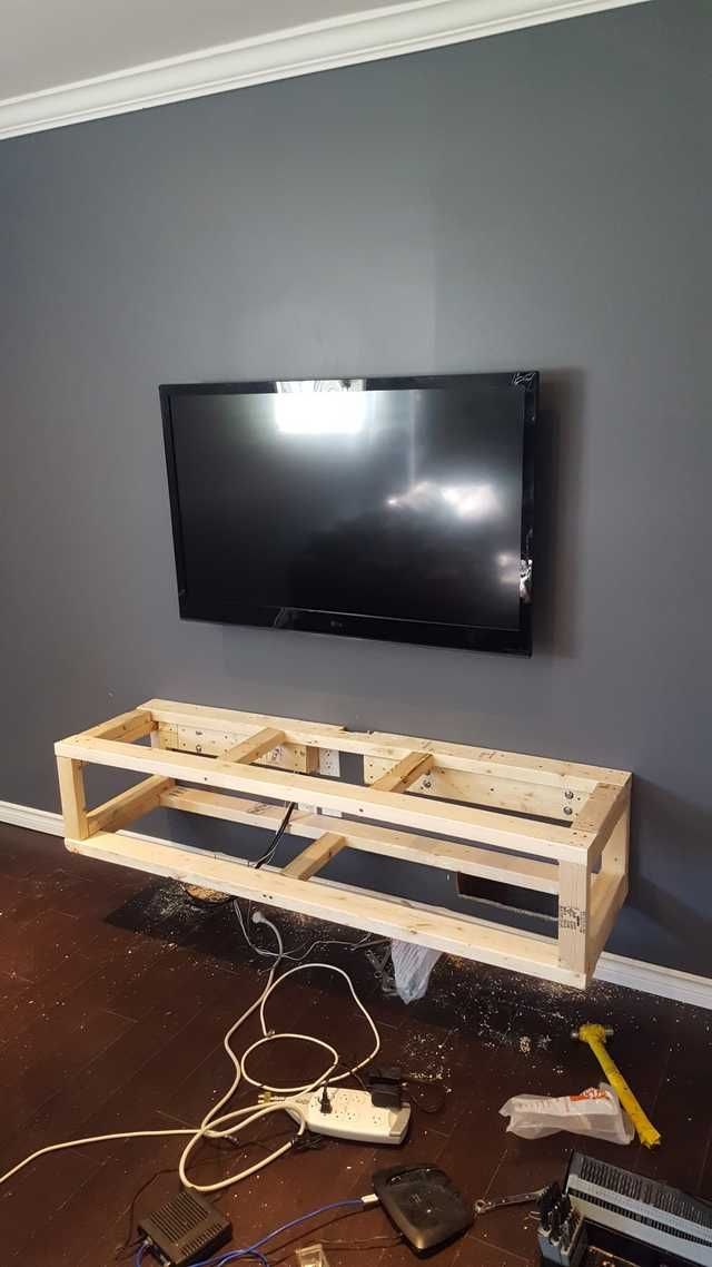 Diy Floating Entertainment Unit And Wall Covering Floating