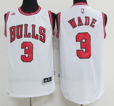 5a7ede83b7f ... Chicago Bulls 3 Wade White Men 2017 New Logo NBA Adidas Jersey Chicago  Bulls 3 Dwyane ...