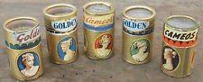 """Vintage """"Golden Cameo"""" Cylinder Round  Made in Italy 1 3/4"""" Tall Matchboxes]Vintage """"Golden cammeo"""" Cilindro rotonda fatta in Italia 1 3/4 """"alto Scatole di Fiammiferi"""