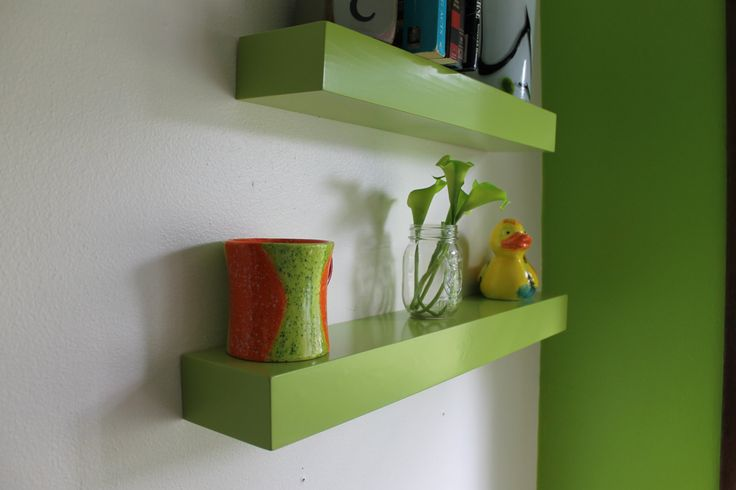 "24 "" Floating Shelf  Green or White Satin Laquer Finish by Prairiewoodworking on Etsy https://www.etsy.com/listing/200222051/24-floating-shelf-green-or-white-satin"