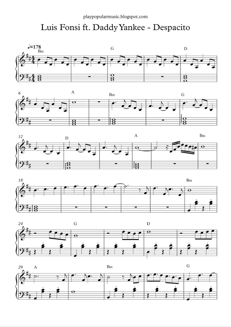 Free piano sheet music:  Luis Fonsi ft. Daddy Yankee - Despacito.pdf    Yes, you know that I've been looking at you for a while,  I want yo...