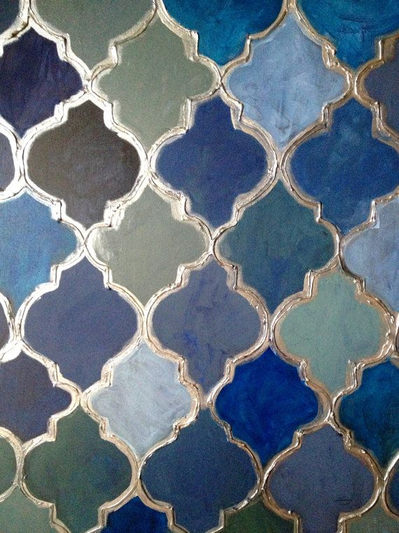 Beautiful Moroccan style painting done with acrylics in various shades of blue and a gel medium for added texture.