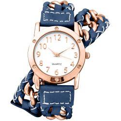 Decree Womens Chain-Link Blue Strap Wrap Watch
