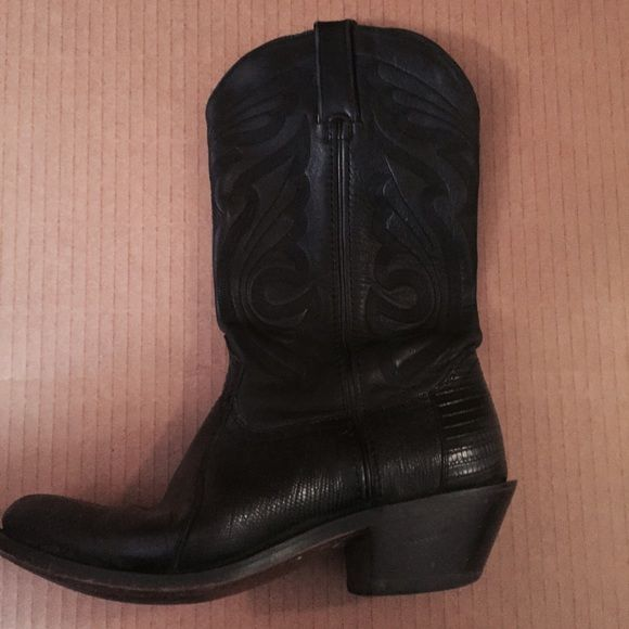 Leather and Alligator Boots Black leather and alligator boots size 7 Free People Shoes