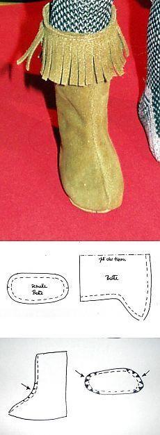 Сапожки для куклы. Patrón botas de flecos.