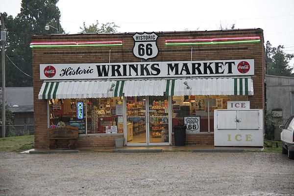 Route 66 - Wrink's Market by Frank Romeo - Route 66 - Wrink's Market Photograph - Route 66 - Wrink's Market Fine Art Prints and Posters for Sale