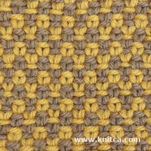 Slip Stitch 7 (scroll down page): Zigzag print is so hot this season. Here's a nice easy slip stitch pattern that creates a 2 color zigzag for a stylish jacket or skirt. It even looks great on the wrong side! Beware: knitted fabric created with this stitch pattern is not elastic.