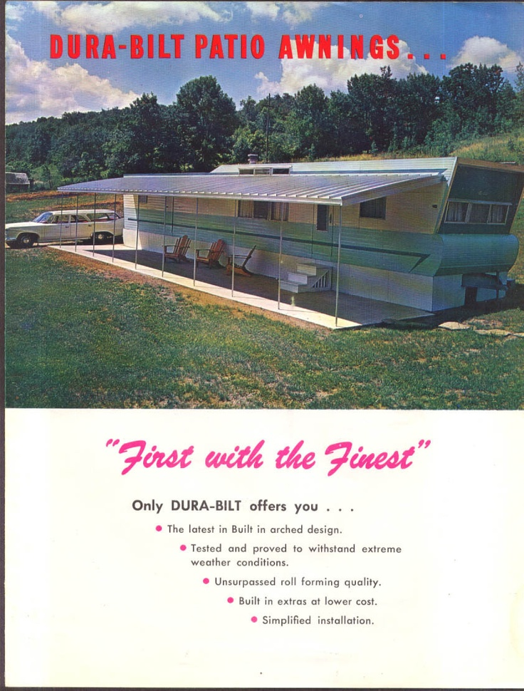 Dura Bilt Patio Awnings For Mobile Homes Sales Folder 1960s