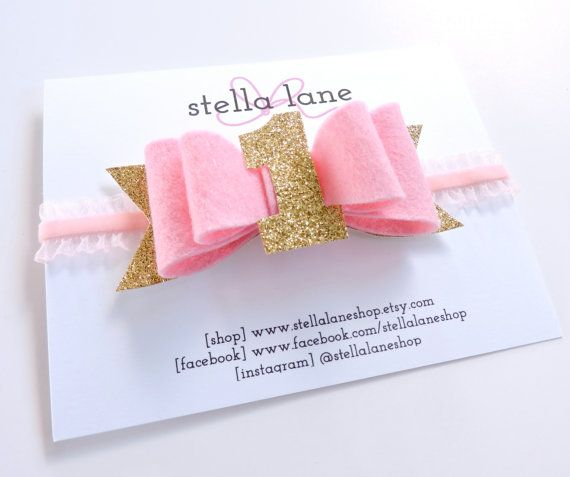 Pink felt birthday bow pink and gold baby girl by StellaLaneShop