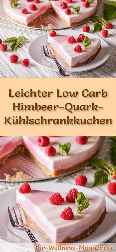 Rezept für einen leichten Low Carb Himbeer-Quark-Kuchen: Der kohlenhydratarme Kühlschrankkuchen wird ohne Zucker und Getreidemehl zubereitet. Er ist kalorienreduziert, ... #lowcarb #Kuchen #backen