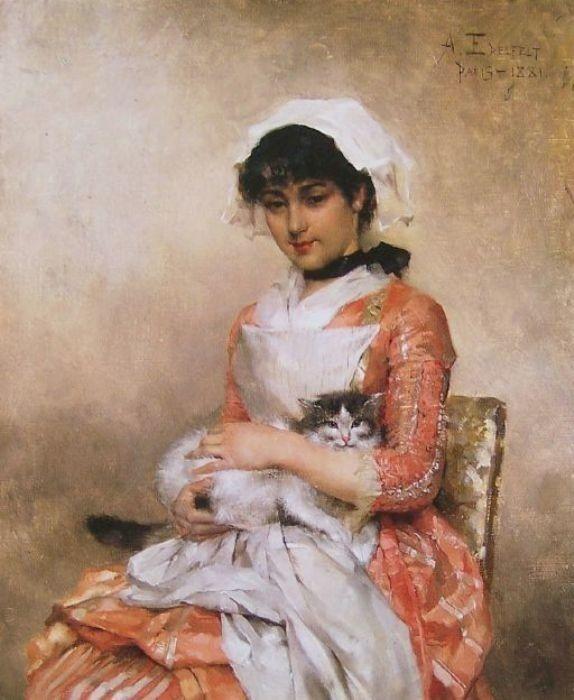 Albert Edelfelt - Girl with a cat, 1881