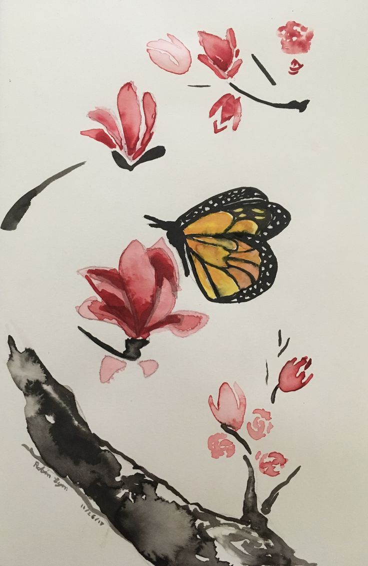 Sume Ink painting by Robin Lyn 11/26/17