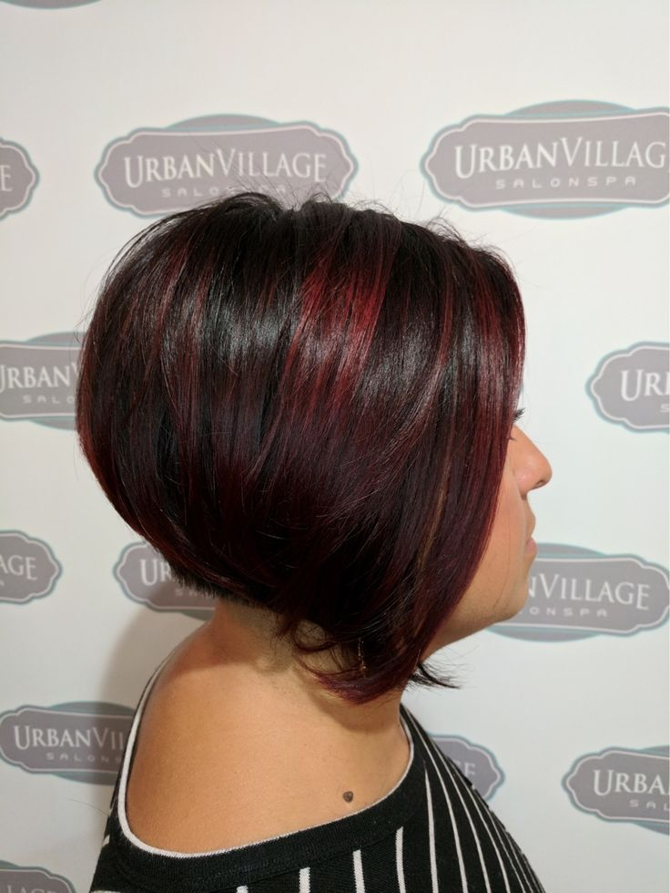 Fall look. Red violet highlights Urban Village Salonspa