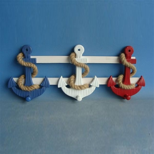 Judith Edwards 3617 Red White and Blue Anchor Wall Pegs - Home Furniture Showroom