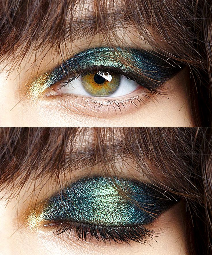 Oil slick eyeshadow at Galliano S/S 15 by Pat McGrath