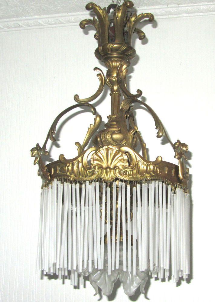 Antik Franzosische Messing Glasstabchen Glas Kronleuchter Luster 1 Flammig Kronleuchter Messing Glas