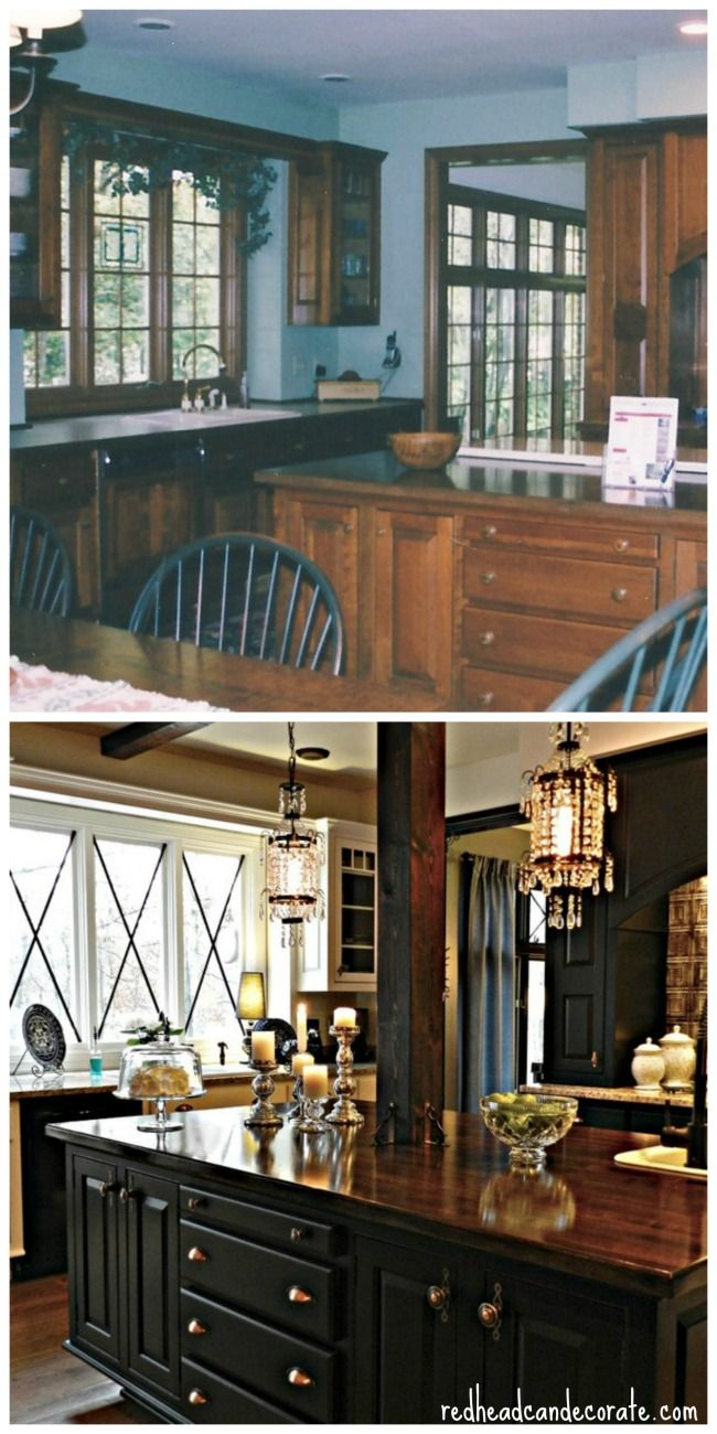 Husband & Wife DIY Kitchen Makeover…Fall is the perfect time to paint your cabinets! #redheadcandecorate.com
