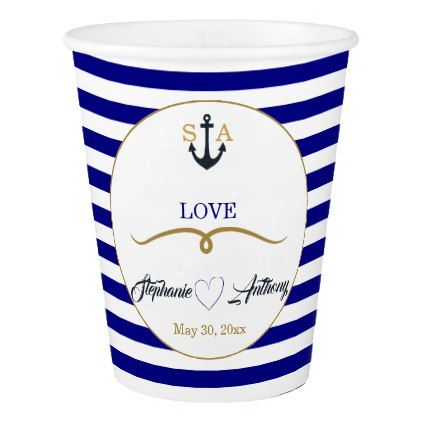 Navy Blue Deep Sea and Gold Nautical Wedding Paper Cup - gold wedding gifts customize marriage diy unique golden