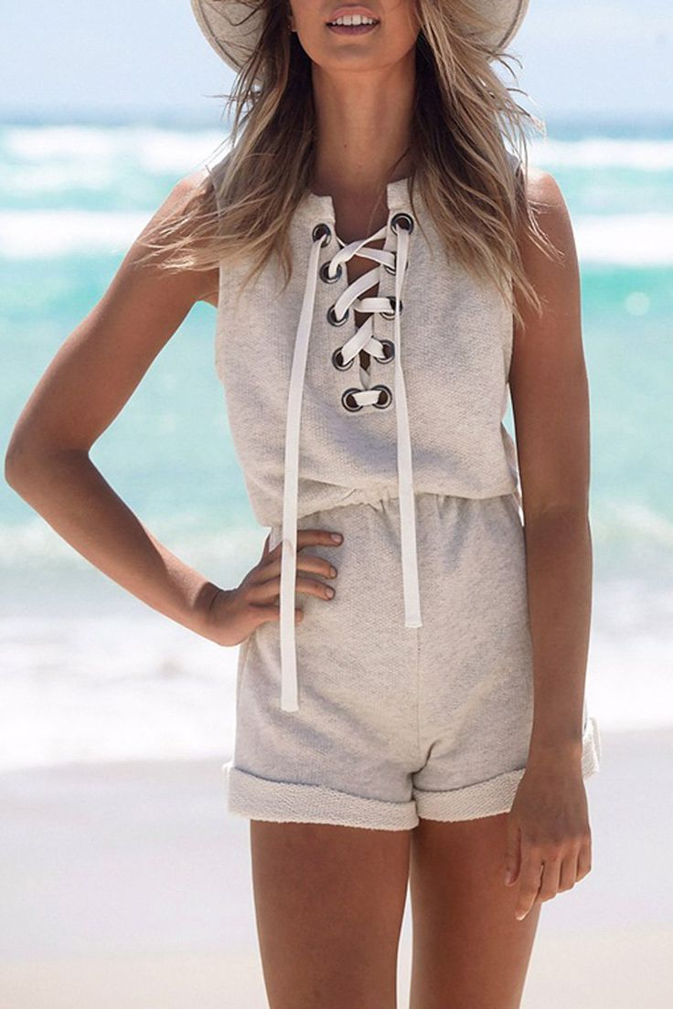 Sleeveless Lace-Up Playsuit