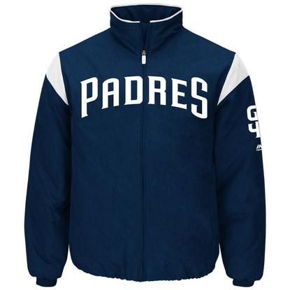 2017 Men's San Diego Padres Majestic Navy On-Field Therma Base Thermal Full-Zip Jacket